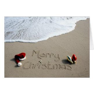 Weihnachtskarten-Feiertags-Strand-Sand-Ozean Grußkarte