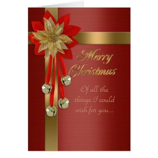 Weihnachtskartenrot und Goldglocken Grußkarte