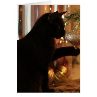 Weihnachtskätzchen-Anmerkungen, schwarze Karte