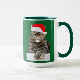 Weihnachtskatzehumbug-Foto mit Weihnachtsmannmütze Tasse