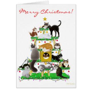 Weihnachtskatzen-Baum-Gruß-Karte Karte