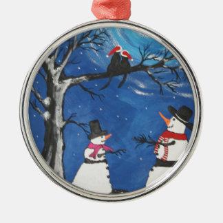 Weihnachtskatzen in der Liebe Rundes Silberfarbenes Ornament
