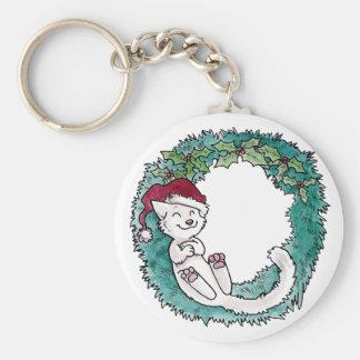 Weihnachtskatzen-Nickerchenwreath-Foto-Verzierung Schlüsselanhänger