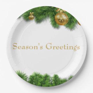 Weihnachtskiefern-Girlanden-Goldweihnachtsbälle Pappteller