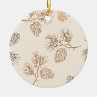Weihnachtskiefern-Kegelmuster - Keramik Ornament