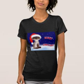 Weihnachtskitty-Schwarz-T - Shirt für Frauen