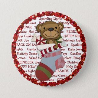 Weihnachtsknopf mit Teddy-Bären im Strumpf Runder Button 7,6 Cm