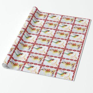 Weihnachtskolibri-Aquarell-Druck Geschenkpapier