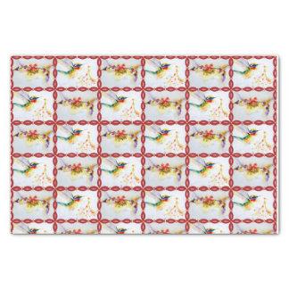 Weihnachtskolibri-Aquarell-Druck Seidenpapier