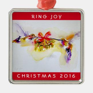 """Weihnachtskolibris """"kleiner Bell"""" Quadratisches Silberfarbenes Ornament"""
