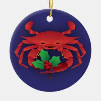 Weihnachtskrabbe mit Stechpalme Keramik Ornament