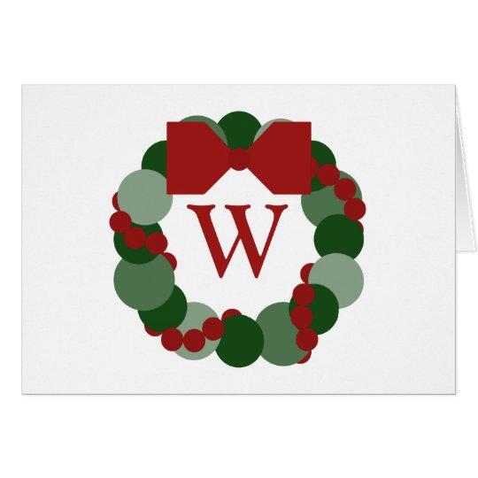 WeihnachtsKranz-Feiertags-Karte mit Monogramm Grußkarte