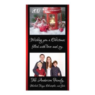 Weihnachtslaternen-Familien-Foto-Karten-Jahr-Namen Karte