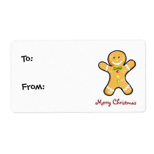 Weihnachtslebkuchenmannplätzchen Großer Adressaufkleber