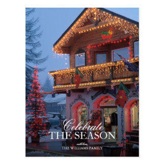 Weihnachtslichter, festliche, vordere Straße an Postkarten