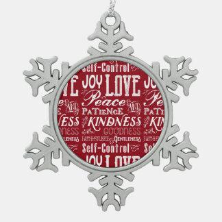 WeihnachtsLiebe-Freude-Frucht der Geist-Typografie Schneeflocken Zinn-Ornament