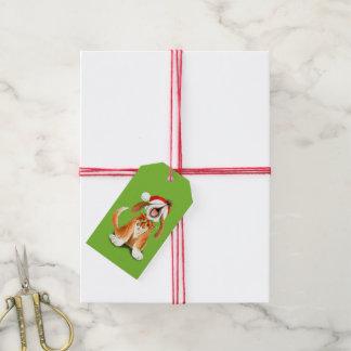 Weihnachtslied-Gesanghund grüner Geschenkumbau Geschenkanhänger