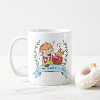 Weihnachtsliede mit der Jungen-und Ren-lustigen Tasse