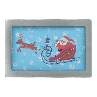Weihnachtslustige Illustration. Sankt mit Rudolf Rechteckige Gürtelschnallen
