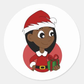 Weihnachtsmädchen-Cartoon Runder Aufkleber