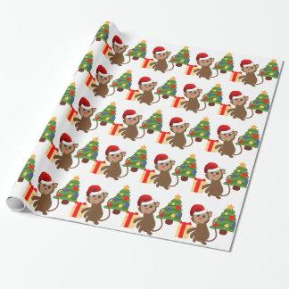 Weihnachtsmann-Affe emoji Geschenkpapier