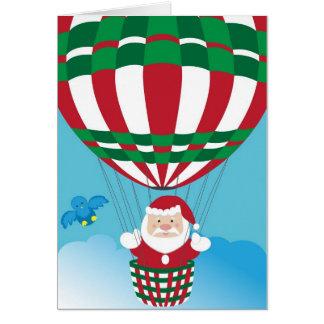 Weihnachtsmann auf Heißluftballon Karte