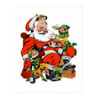 Weihnachtsmann - Elf-Pflegen Postkarte