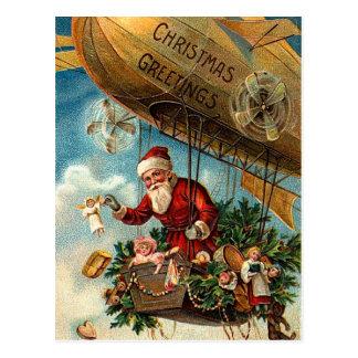 Weihnachtsmann im Luftschiff Postkarte