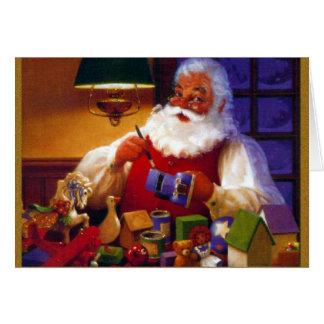 Weihnachtsmann im Spielzeug-Geschäft Karte