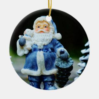 Weihnachtsmann in der blauen (mit Teddybären) Keramik Ornament