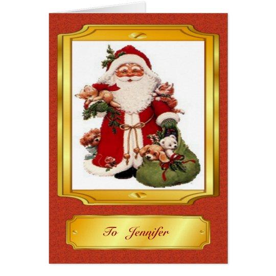 Weihnachtsmann in der roten und goldenen grußkarte