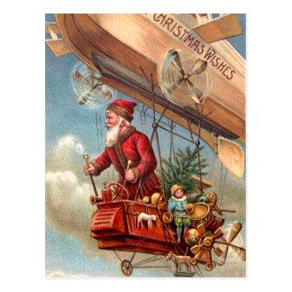 Weihnachtsmann in Luftschiff 2 Postkarte