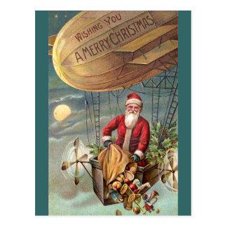 Weihnachtsmann in Luftschiff 3 Postkarte