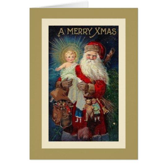 Weihnachtsmann Jesus Christus spielt Vintages Karte