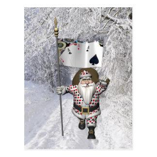Weihnachtsmann-Lieben, die Poker spielen Postkarte
