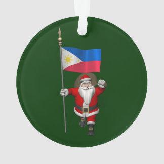 Weihnachtsmann mit Fahne der Philippinen Ornament