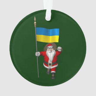 Weihnachtsmann mit Fahne der Ukraine Ornament