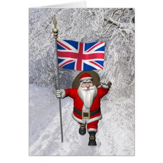 Weihnachtsmann mit Fahne Großbritanniens Karte