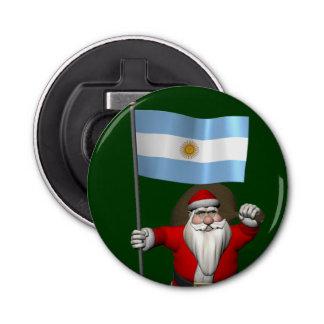 Weihnachtsmann mit Fahne von Argentinien Flaschenöffner