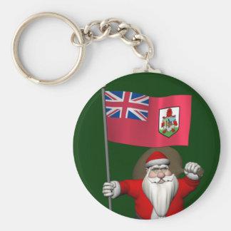 Weihnachtsmann mit Fahne von Bermuda Schlüsselanhänger