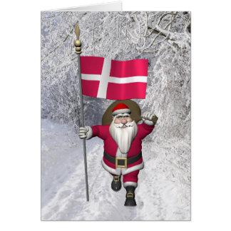 Weihnachtsmann mit Fahne von Dänemark Dannebrog Karte