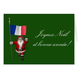 Weihnachtsmann mit Fahne von Frankreich Karte