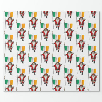 Weihnachtsmann mit Fahne von Irland Geschenkpapierrolle
