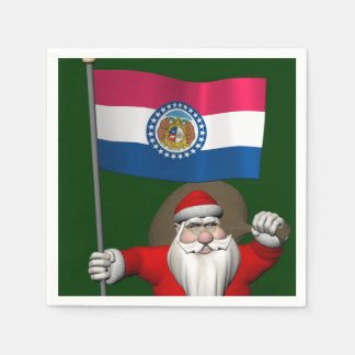 Weihnachtsmann mit Fahne von Missouri Serviette