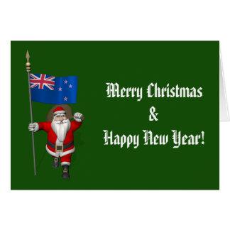 Weihnachtsmann mit Fahne von Neuseeland Karte