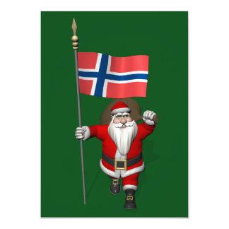 Weihnachtsmann mit Fahne von Norwegen 12,7 X 17,8 Cm Einladungskarte