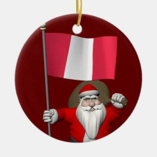 Weihnachtsmann mit Fahne von Peru Keramik Ornament