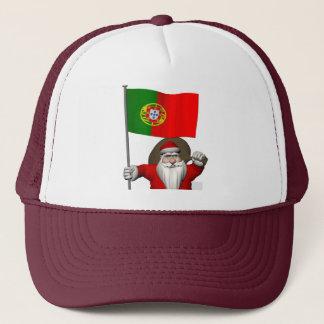 Weihnachtsmann mit Fahne von Portugal Truckerkappe
