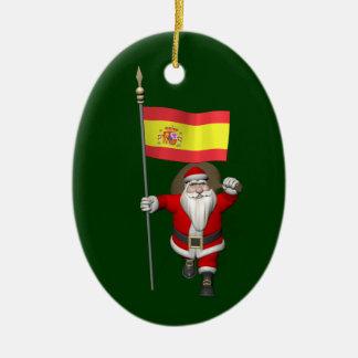 Weihnachtsmann mit Fahne von Spanien Keramik Ornament