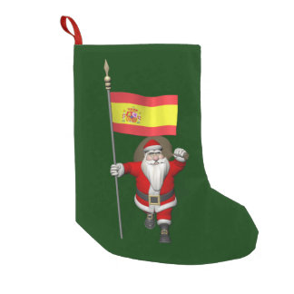 Weihnachtsmann mit Fahne von Spanien Kleiner Weihnachtsstrumpf